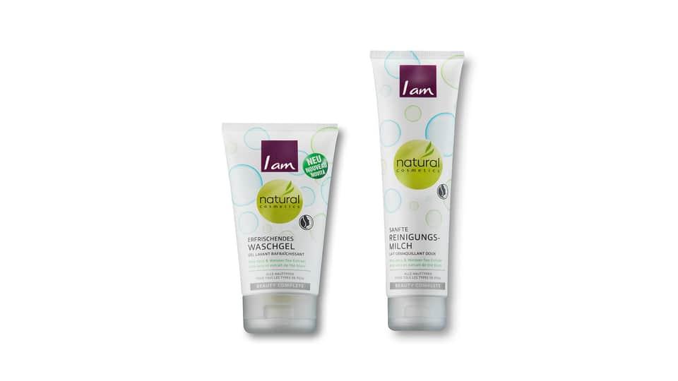 Latte detergente delicato e gel detergente rinfrescante Migros I am Natural Cosmetics